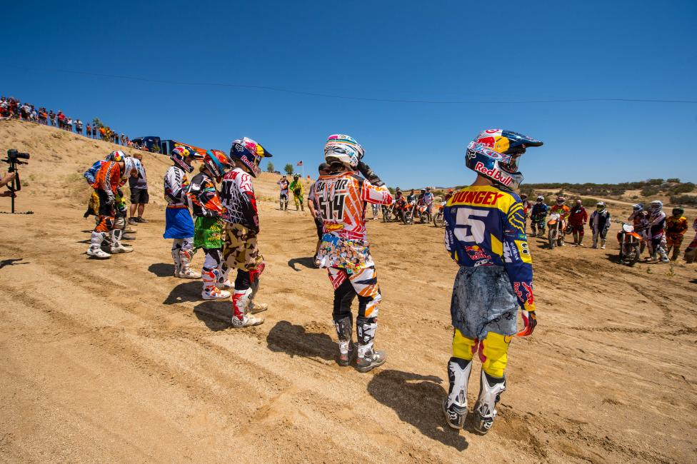 The pros wait their turn--incluing Dungey and Roczen, and GNCCer Stew Baylor. Photo: Simon Cudby