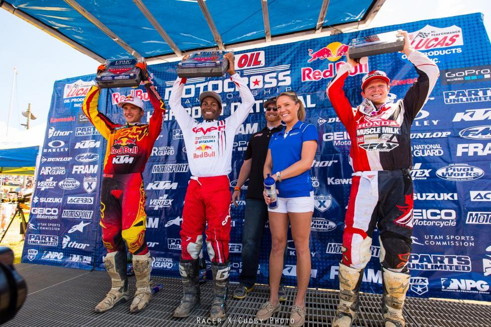 Ken Roczen (left), James Stewart and Trey Canard captured podium spots at High Point. Photo: Simon Cudby