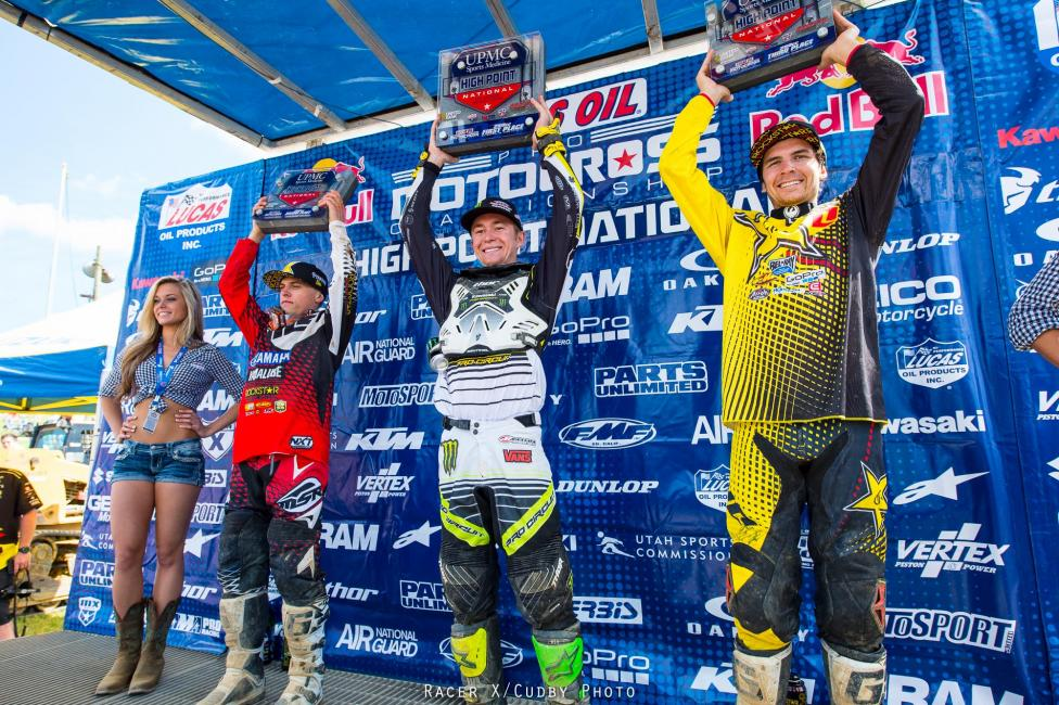 Jeremy Martin (left), Blake Baggett and Jason Anderson were your 250 Class podium performers.  Photo: Simon Cudby