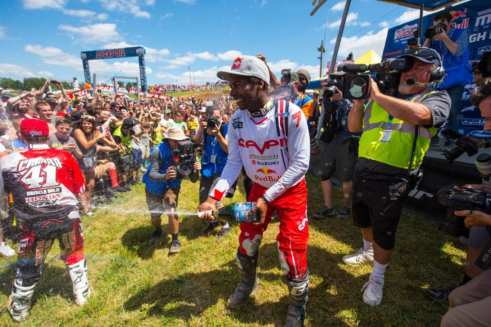 Stewart celebrates with the fans at High Point.  Photo: Simon Cudby
