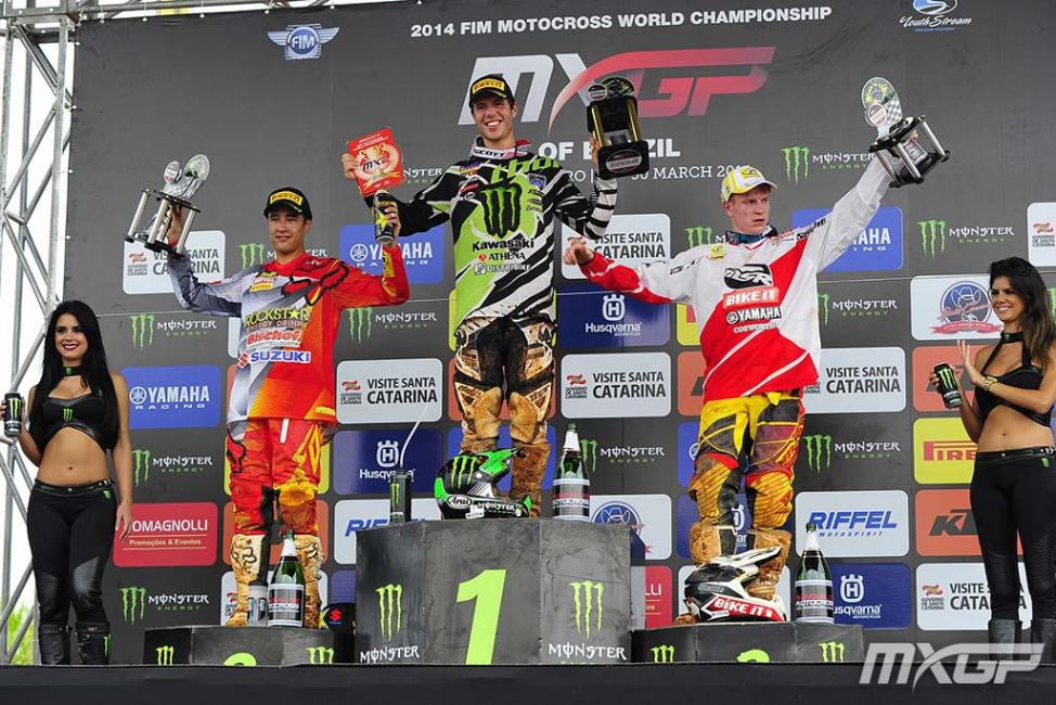 Tonus (center) won a GP and led the MX2 points early this season. Since Jeffrey Herlings returned from injury, he's been chasing the defending champ each week.Photo: MXGP.com
