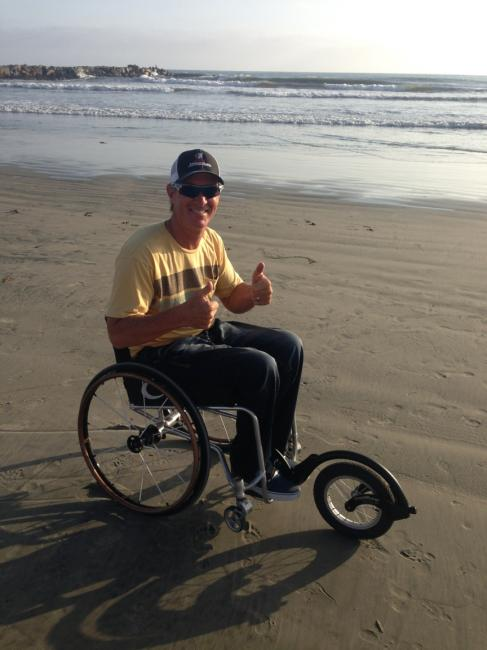 David today. This chair features a special wheel developed for former rider Pat Daugherty. Bailey is also developing his own handcycle.Photo: Courtesy Bailey
