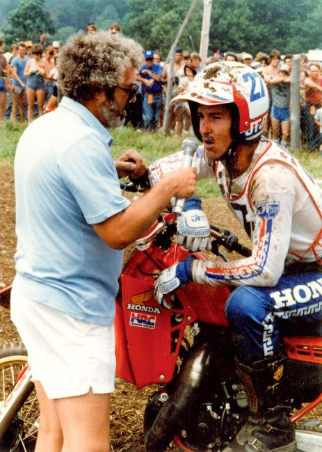 Bailey and a Unadilla mud mustache have a chat with Larry Maiers' perm.