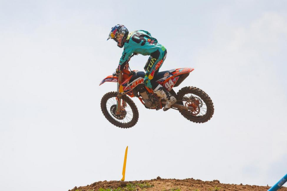 The 450MX points leader was out getting the track dialed at Press Day yesterday. Photo: Andrew Fredrickson