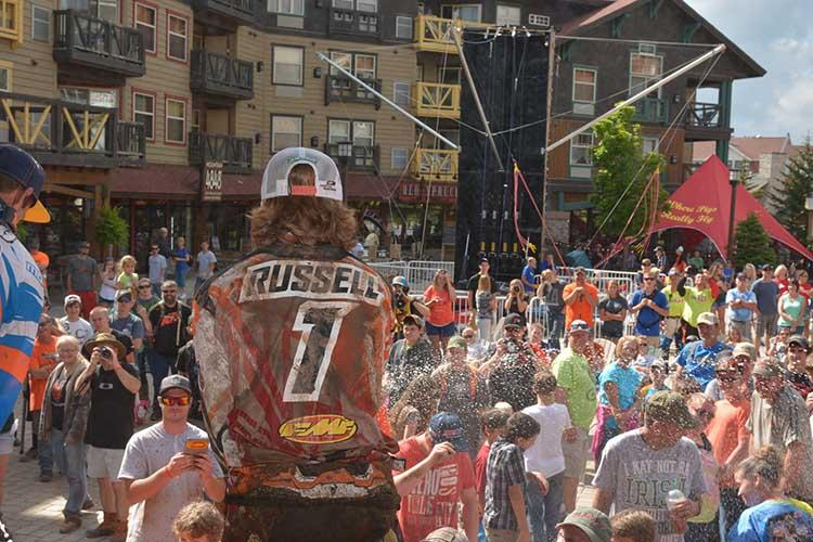Kailub Russell celebrates another win at Snowshoe last weekend. Photo: GNCC