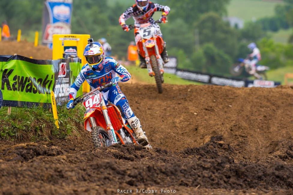 Roczen chased Dungey home in moto one, but it was reversed in moto two. Photo: Cudby