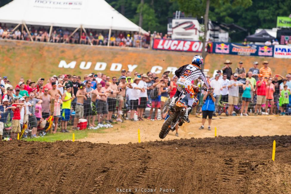 Roczen fell early in moto one and Dungey took advantage. Dungey holeshot moto two but Roczen made a quick pass on him and held strong under pressure. Photo: Cudby
