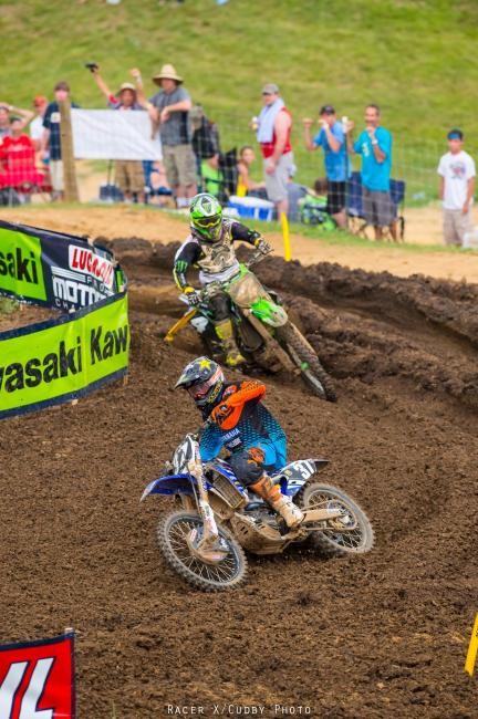 Martin and Baggett were this close down the stretch in both motos.Photo: Cudby