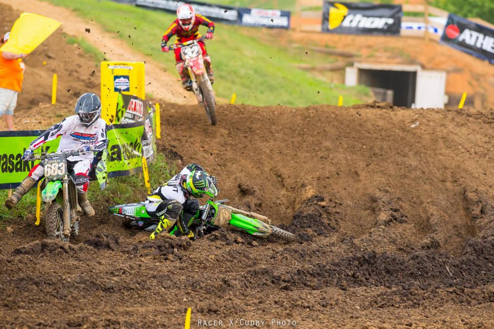 A late Baggett crash in moto two helped Webb seal the victory--then Justin Bogle and Christophe Pourcel got caught with Baggett.