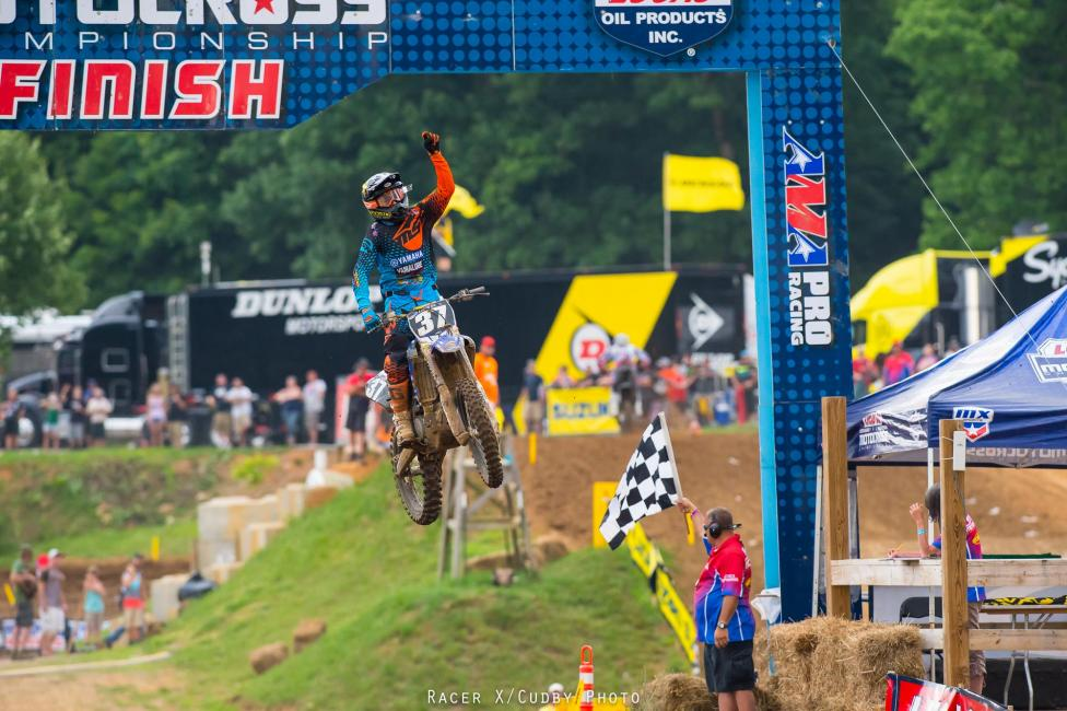 At last. Cooper Webb became the third overall winner in 250MX at Muddy Creek.  Photo: Simon Cudby