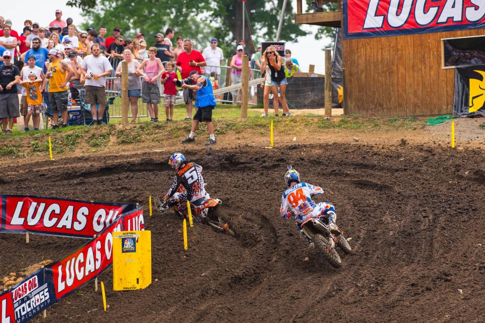 Ryan Dungey (5) and Ken Roczen (94) ran away down the stretch. Photo: Simon Cudby