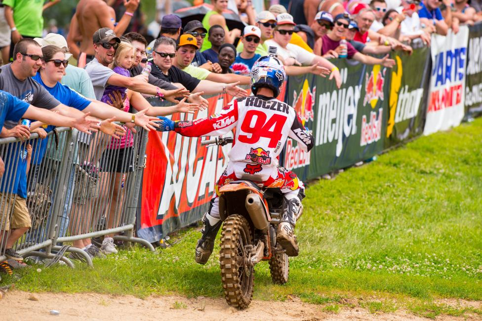 Roczen celebrates with the fans at RedBud.  Photo: Simon Cudby