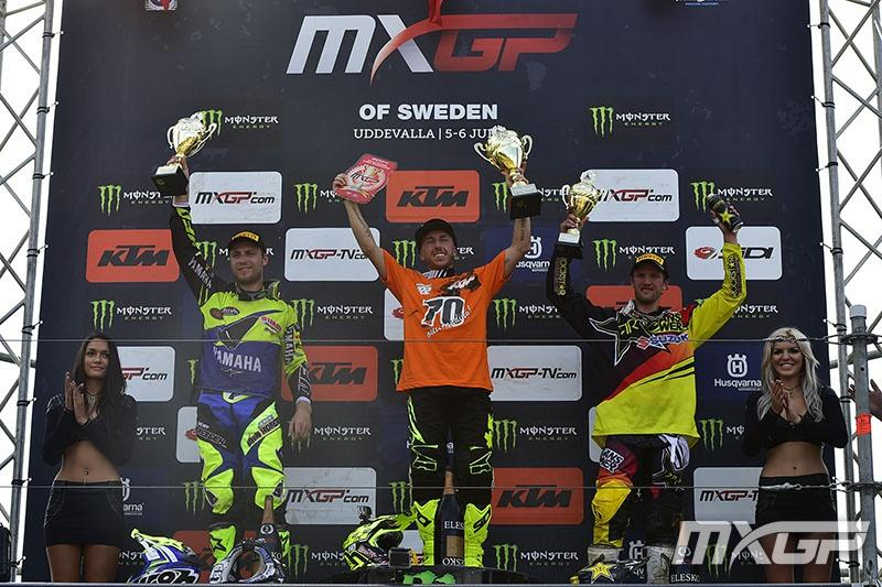 Van Horebeek (left) and Strijbos (right) would round out the MXGP podium. Photo: MXGP
