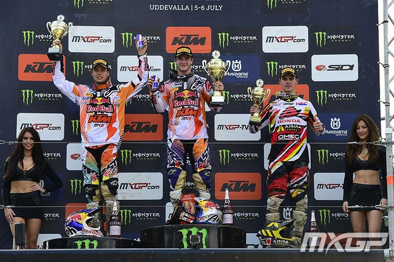 Tixier (left) and Gajser (right) made up the MX2 podium. Photo: MXGP