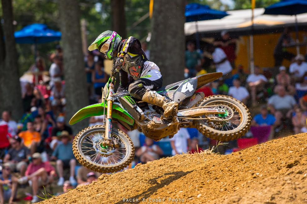 Baggett was back his old tricks in moto two. That's three straight wins at Budds Creek for him.Photo: Cudby