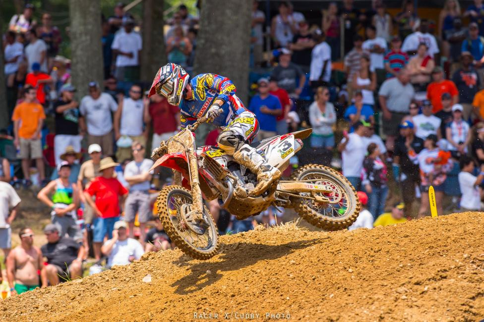 A GEICO team PR said Tomac was suffering from back pain in the morning, but it sure didn't look that way in the motos. Besides some bad starts, his weekend was awesome. Photo: Cudby