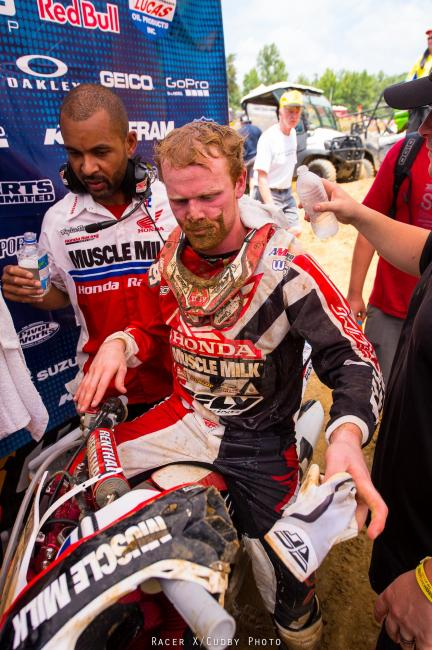 Trey Canard has probably been in more battles than any 450 rider this summer. He led some, fought some and went fast all day, but was one again just edged off the podium with fourth overall.