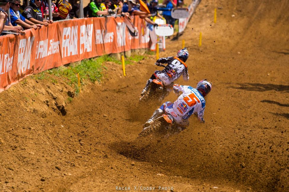 See? It was close down the stretch, which gave Dungey some confidence going into moto two.Photo: Cudby