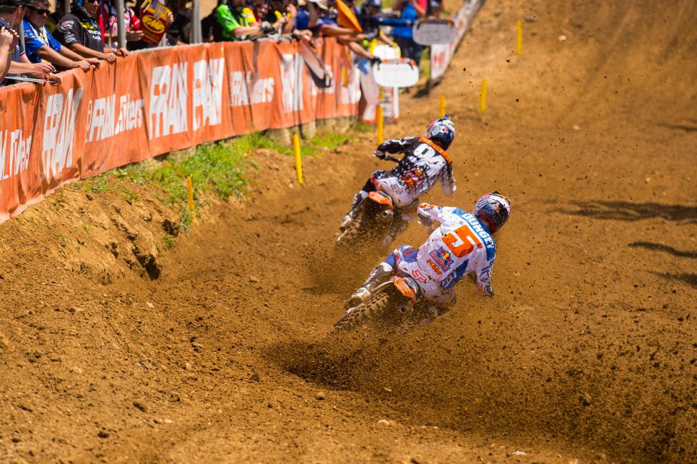 Ryan Dungey in pursuit of Ken Roczen.  Photo: Simon Cudby