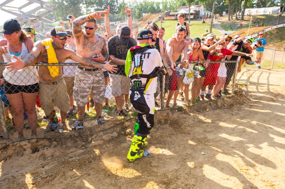 Baggett celebrates his overall. Photo: Simon Cudby