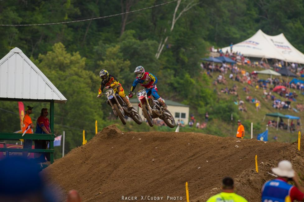 Webb and Bogle battled hard, but Webb went on to take the win while Bogle crashed out late.Photo: Cudby