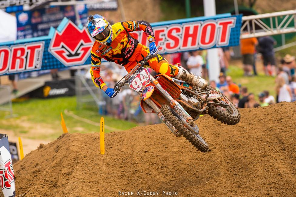 Not the normal day for Roczen, who missed the podium in a moto for the first time this summer.Photo: Cudbyr