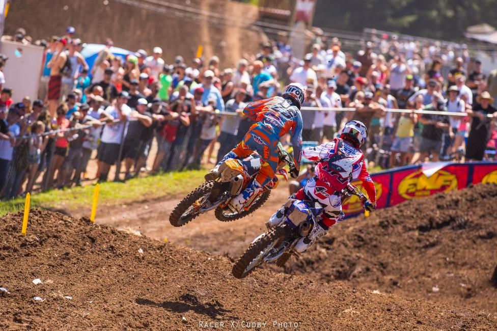 Marvin Musquin and Christophe Pourcel, who weren't selected to be on France's MXoN team, went 1-2 in the first moto.Photo: Cudby