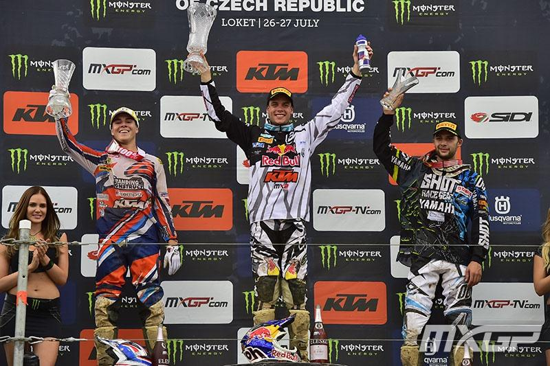 Guillod (left) and Charlier (right) joined Tixier on the podium. Photo: MXGP