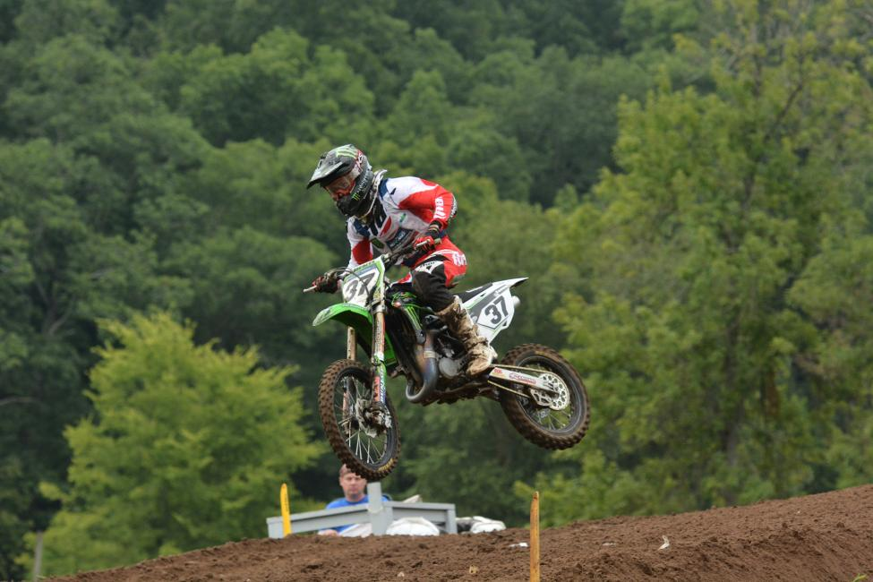 Sean Cantrell is first in Super Mini 1 and second in Super Mini 2 after two motos.  Photo: Ken Hill