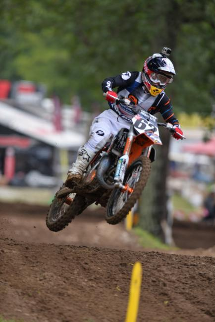 Mitchell Falk holds second in Super Mini 1 (12-15) after two motos.  Photo: Ken Hill