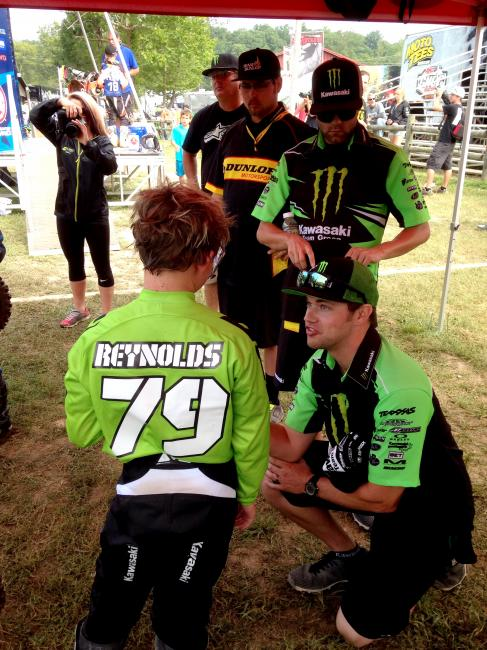 Ryan Holliday talks with Jett Reynolds after a moto at Loretta Lynn's.