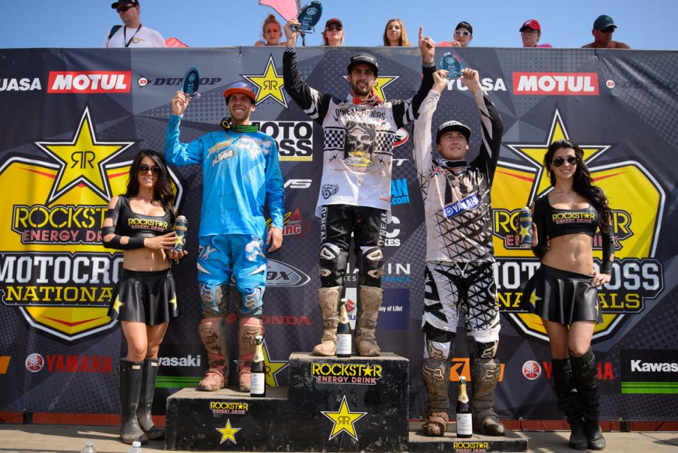 The MX2 overall podium in Canada.  Photo: James Lissimore