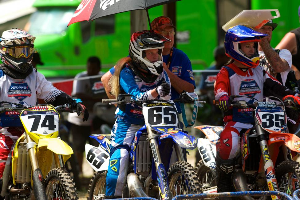 Morrow (65) suffered a leg injury in the final moto.
