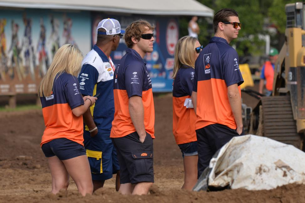 Lots of KTM people (and some Husqvarna employees, too) roaming the infield at Loretta's these days.Photo: Ken Hill