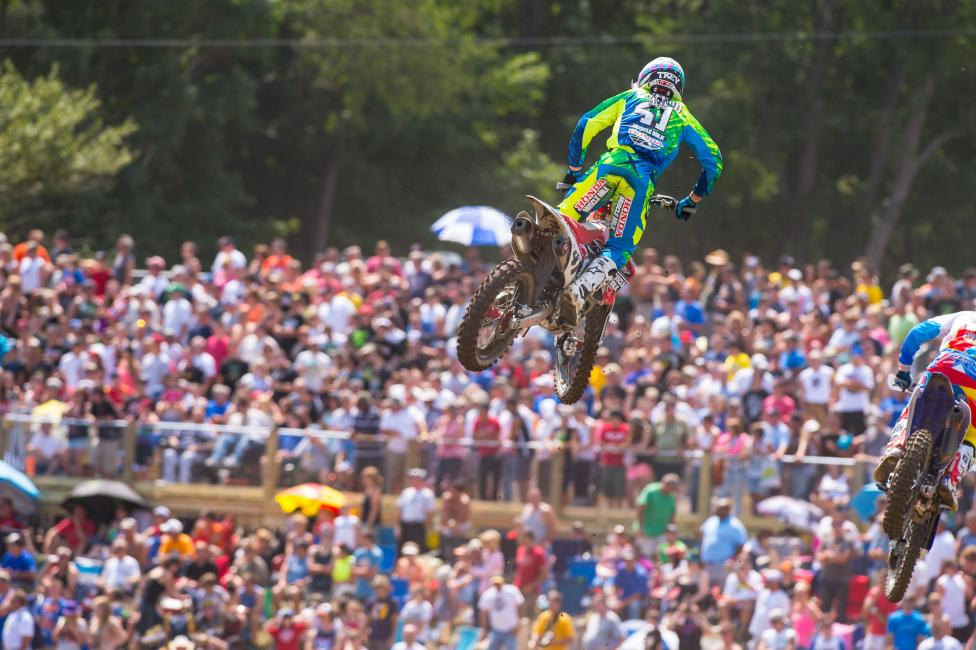 Canard won his first career 450 moto at Unadilla.
