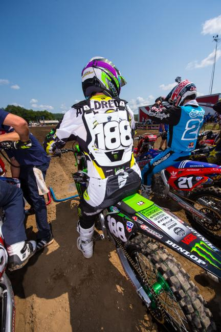Alldredge sits on the line getting ready for his first professional race at Unadilla on Saturday.  Photo: Simon Cudby