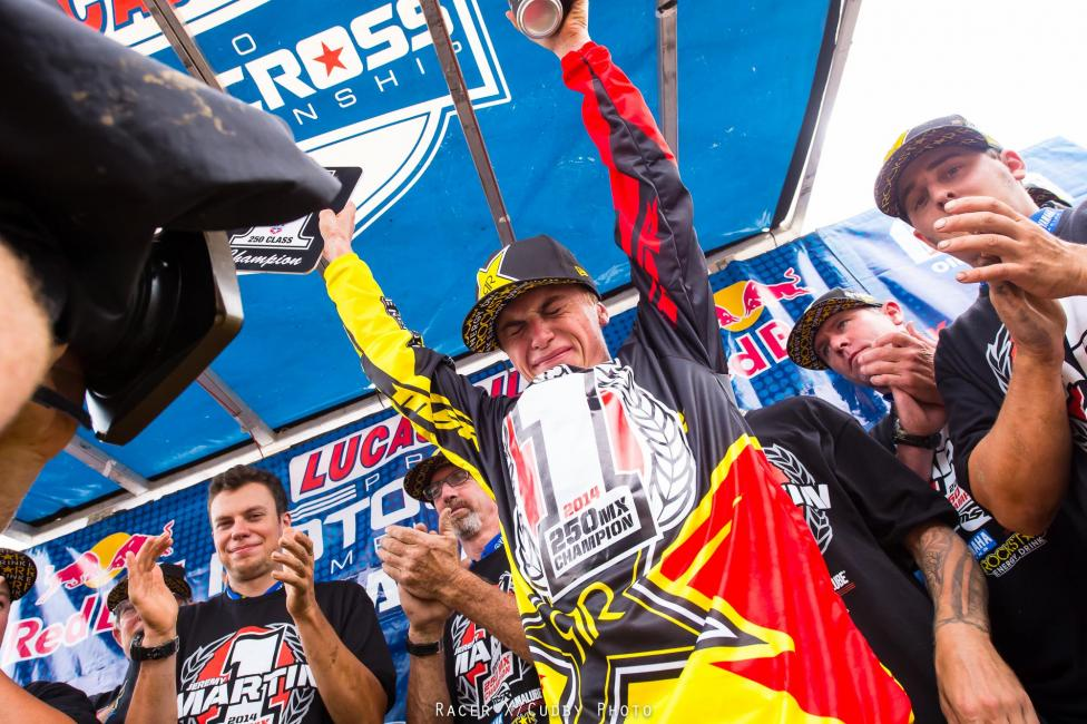 Jeremy Martin celebrates his first career title.