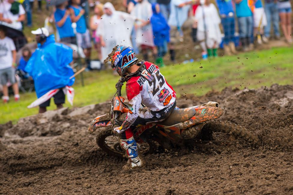 """That first moto I was maybe too smooth in the beginning and I was fifth or fourth and then a third. The guys in front of me, they were already gone, so it was hard to catch up to those guys and I got third."" - Musquin Photo: Simon Cudby"
