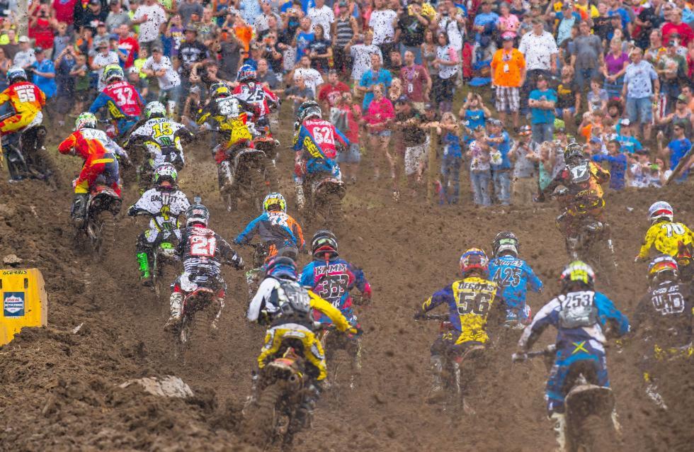 Lots of mud being blasted off the start. Goggle choice was important in Indiana.