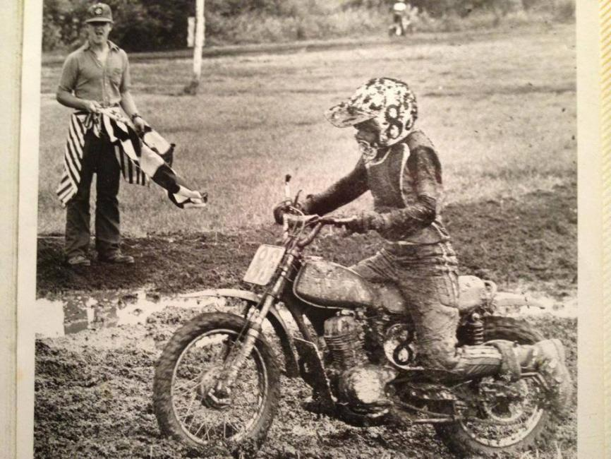 Lisa Wagner trudges through the muddy conditions at Pioneer Park in Gobles, Michigan—just miles from Dutch Sport Park, a track she and the rest of the Wagner family currently operate.  Photo: Courtesy Wagner