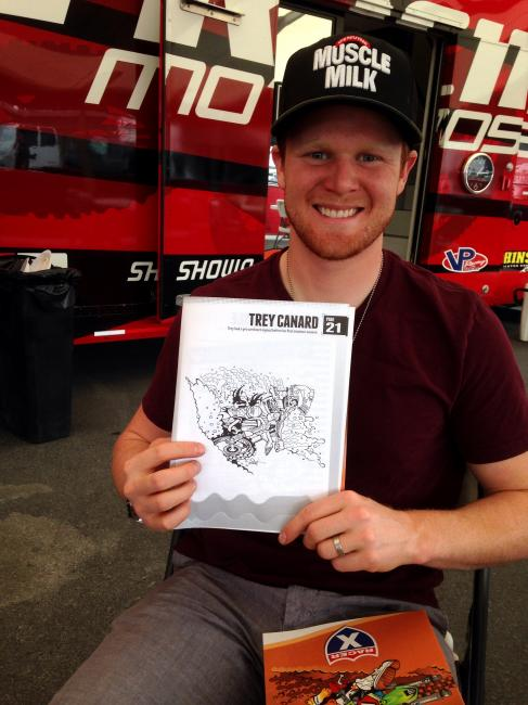 Trey Canard is happy with his illustration!Photo: Davey Coombs
