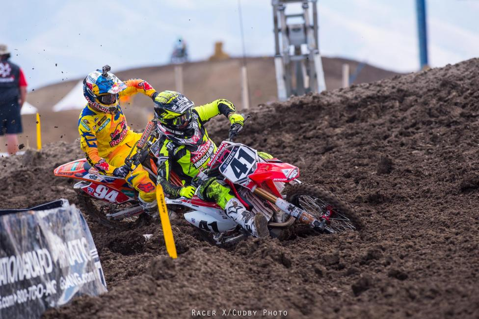 A championship on the line didn't stop Roczen from racing hard in the first moto.Photo: Cudby