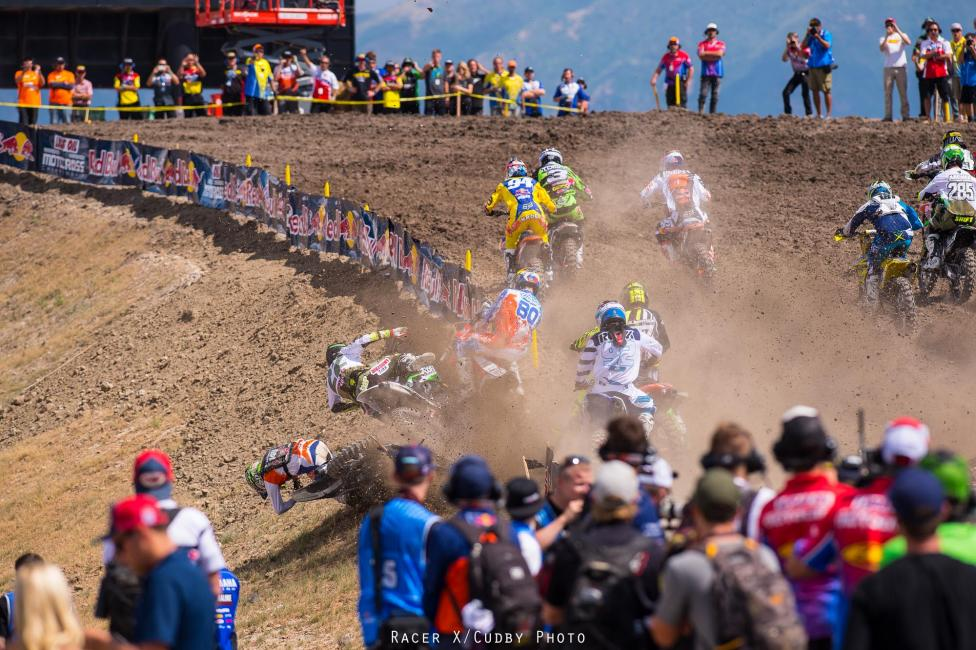 Yikes! Andrew Short and Fredrik Noren both recovered well from this crash right off the gate.Photo: Cudby