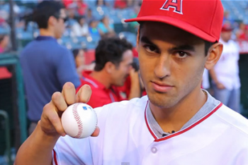 Bogle Throws Out First Pitch at Angels Game