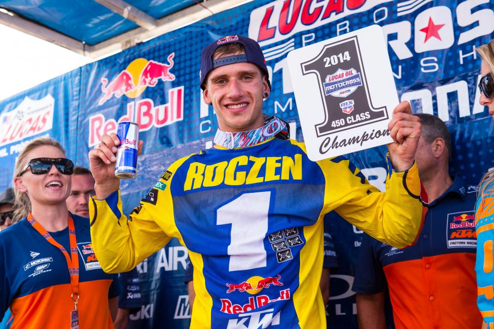 Roczen celebrates his first 450 title. Photo: Simon Cudby