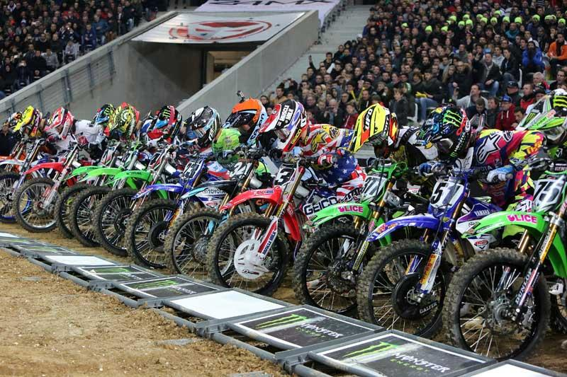 Bercy Lille blastoff. Tomac (3) would take this first main event over Pourcel (377) Photo: PH/Larivière Organisation