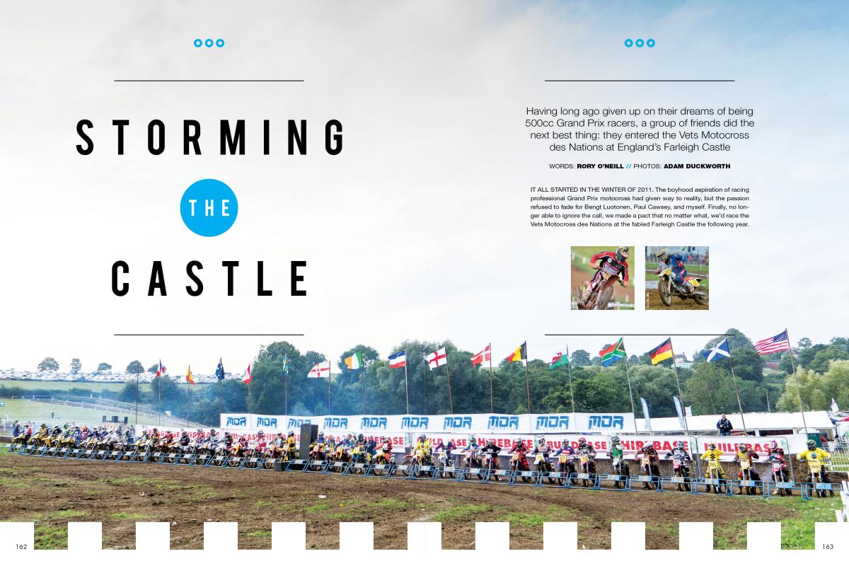 "For the third year in a row, a group of Brit expat pals brought their YZ490 ""Air Hammers"" to Farleigh Castle's Vets MXdN. Page 162"