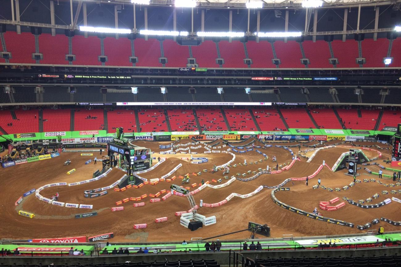 Lots of turns here but the bottom line is passing will be tough on any supercross track these days--the bikes are riders are good and everyone nails everything from the first lap of practice through the end of the show The whoops might be a factor here, though.Photo: Weege