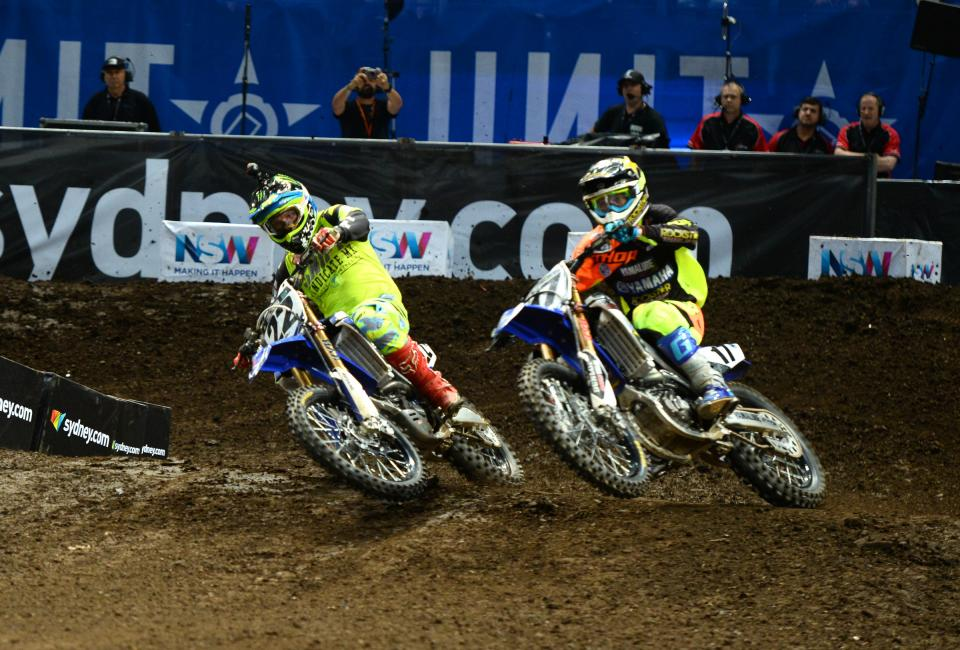 Cooper Webb (17) outlasted Chad Reed (22) to take the win on night two.
