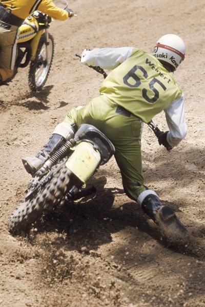 """Jammin'"" Jimmy Weinert on his factory Kawasaki."